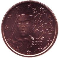 Монета 1 цент. 2000 год, Франция.