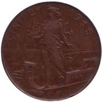 Монета 2 чентезимо. 1915 год, Италия.