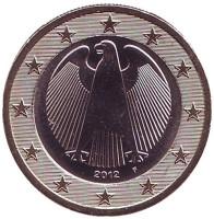 Монета 1 евро. 2012 год (F), Германия.