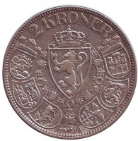 Хокон VII. Монета 2 кроны. 1910 год, Норвегия.