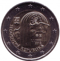 25 лет Словацкой Республике. Монета 2 евро. 2018 год, Словакия.