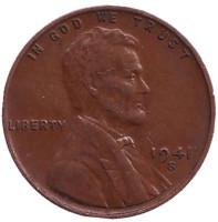 Линкольн. Монета 1 цент. 1941 год (S), США.