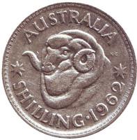 Баран. Монета 1 шиллинг. 1962 год, Австралия.