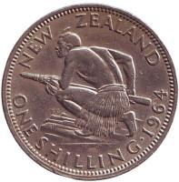 Воин Маори. Монета 1 шиллинг. 1964 год, Новая Зеландия.