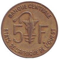 Монета 5 франков. 2004 год, Западные Африканские Штаты.