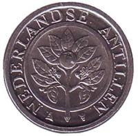 Цветок апельсинового дерева. Монета 1 цент. 2016 год, Нидерландские Антильские острова.