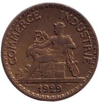 Монета 50 сантимов. 1929 год, Франция.