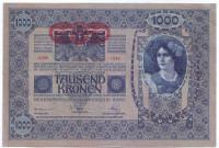 Бона 1000 крон. 1902 (1919) год, Австро-Венгрия. (Надпечатка). Тип 2.