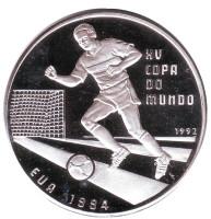 Чемпионат мира по футболу 1994 года. Монета 10000 песо. 1992 год, Гвинея-Бисау.