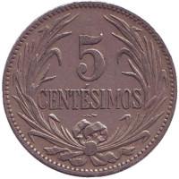 Монета 5 сентесимо. 1924 год, Уругвай.