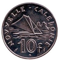 Парусник. Монета 10 франков. 1986 год, Новая Каледония. UNC.