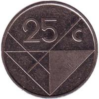 Монета 25 центов, 1987 год, Аруба.