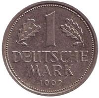 Монета 1 марка. 1992 год (A), ФРГ. Из обращения.