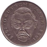 Людвиг Эрхард. Монета 2 марки. 1989 год (G), ФРГ.