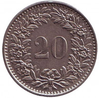 Монета 20 раппенов. 1967 год, Швейцария.