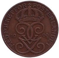 Монета 5 эре. 1909 год, Швеция. (большой крест)