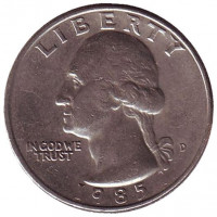 Вашингтон. Монета 25 центов. 1985 (D) год, США.