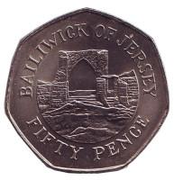 Замок Гросне. Монета 50 пенсов, 1994 год, Джерси.
