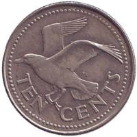 Чайка. Монета 10 центов. 1995 год, Барбадос.