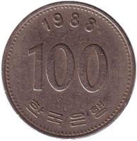 Монета 100 вон. 1988 год, Южная Корея.