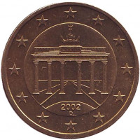 Монета 50 центов. 2002 год (D), Германия.