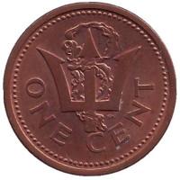 Монета 1 цент. 1989 год, Барбадос.