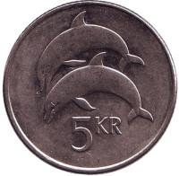 Дельфины. Монета 5 крон, 2005 год, Исландия.