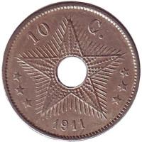 Монета 10 сантимов. 1911 год, Бельгийское Конго.