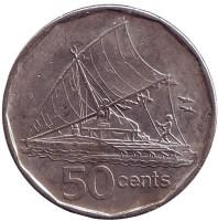 Фиджийское каноэ Такиа (Каунитони). Монета 50 центов. 2009 год, Фиджи. Из обращения.