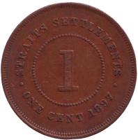 Монета 1 цент. 1897 год, Стрейтс Сетлментс.