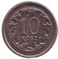 Монета 10 грошей. 2003 год, Польша.