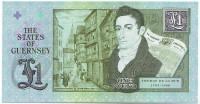 200-летие первого коммерческого предприятия Томаса де ла Ру. Банкнота 1 фунт. 2013 год, Гернси.