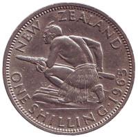 Воин Маори. Монета 1 шиллинг. 1965 год, Новая Зеландия.