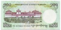 Монастырь Ташичо-дзонг. Банкнота 100 нгултрумов. 2011 год, Бутан.
