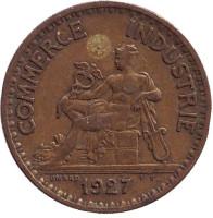 Монета 1 франк. 1927 год, Франция.