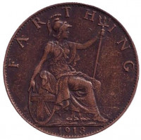 Монета 1 фартинг. 1913 год, Великобритания.