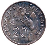 Быки. Монета 20 франков. 2010 год, Новая Каледония.
