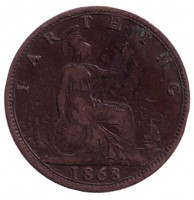Монета 1 фартинг. 1868 год, Великобритания.