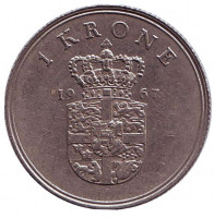 Монета 1 крона. 1967 год, Дания.