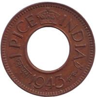 Монета 1 пайса. 1943 год, Британская Индия. (корона с острыми углами)