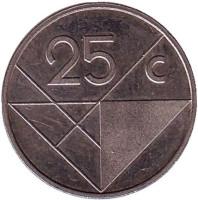 Монета 25 центов, 1989 год, Аруба.