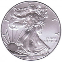 Шагающая свобода. Монета 1 доллар, 2017 год, США.