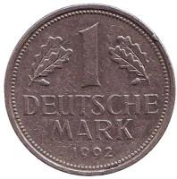 Монета 1 марка. 1992 год (D), ФРГ. Из обращения.