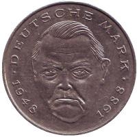 Людвиг Эрхард. Монета 2 марки. 1989 год (J), ФРГ.