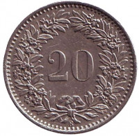 Монета 20 раппенов. 1968 год, Швейцария.