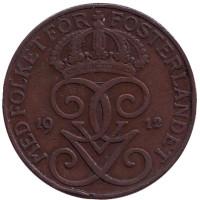 Монета 5 эре. 1912 год, Швеция.