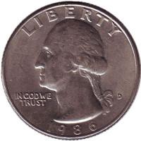 Вашингтон. Монета 25 центов. 1986 (D) год, США.