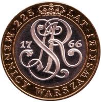 225 лет Варшавскому монетному двору. Монета 20000 злотых. 1991 год, Польша.