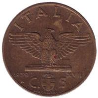 Орёл. Виктор Эммануил III. Монета 5 чентезимо. 1939 год, Италия. (Алюминиевая бронза)