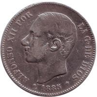 Альфонсо XII. Монета 5 песет. 1885 год, Испания. (Отметка MS. M.)